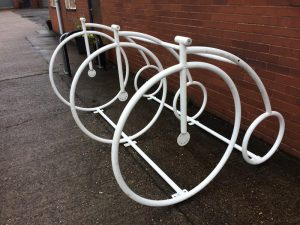 tube bending used to make Penny Farthing Bicycle Stand With White Powder Coat Application